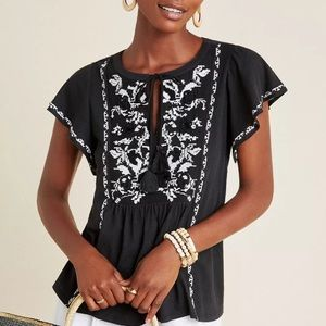 Anthropologie Alexandrine knit embroidered top